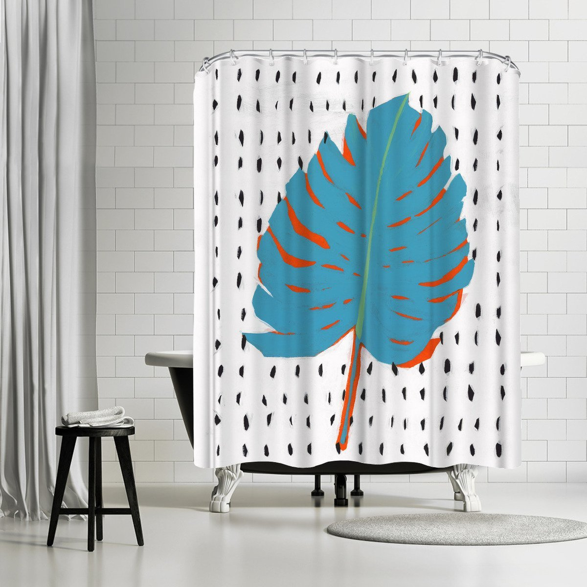 Blue Tropical Leaf Ii by PI Creative Art Shower Curtain - Shower Curtain - Americanflat