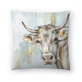 Headstrong Cow by PI Creative Art Decorative Pillow