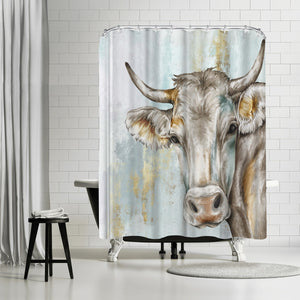 Headstrong Cow by PI Creative Art Shower Curtain