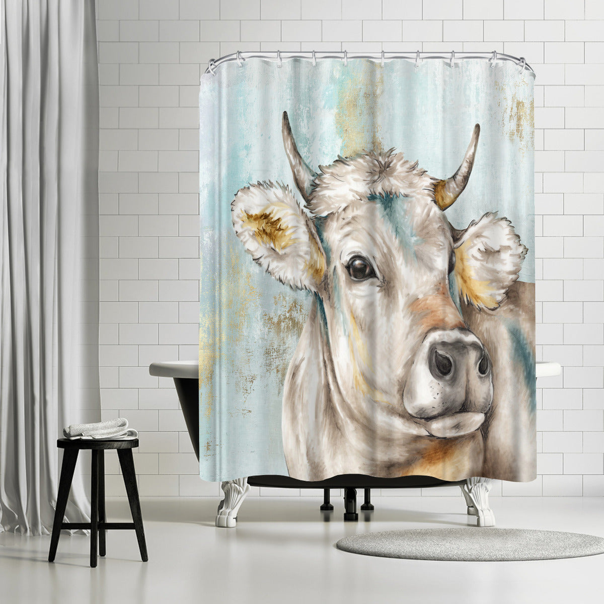 Headstrong Cow I by PI Creative Art Shower Curtain - Shower Curtain - Americanflat