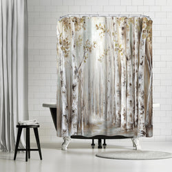 Sunset Birch Forest Iii by PI Creative Art Shower Curtain