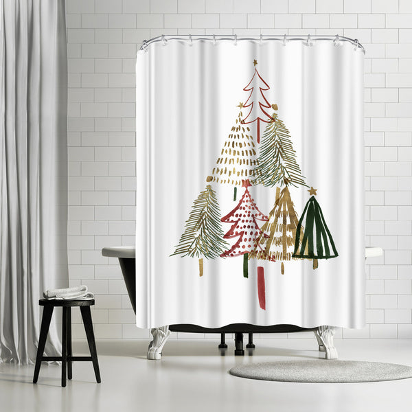 Pine Trees I by PI Creative Art Shower Curtain
