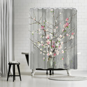 Delicate Pink Blooms by PI Creative Art Shower Curtain