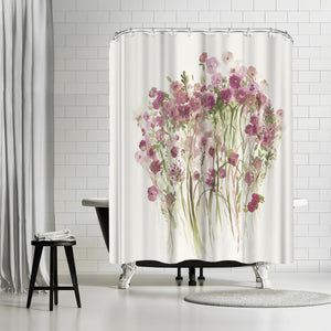 Pink Spring Garden by PI Creative Art Shower Curtain