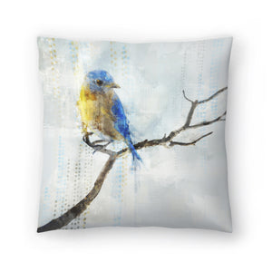 Little Blue Bird I by PI Creative Art Decorative Pillow