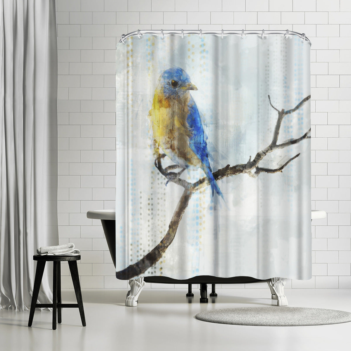 Little Blue Bird I by PI Creative Art Shower Curtain