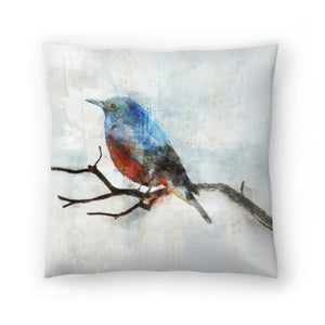 Little Blue Bird Ii by PI Creative Art Decorative Pillow
