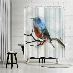Little Blue Bird Ii by PI Creative Art Shower Curtain