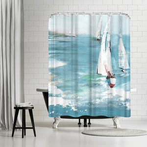 Gone Sailing by PI Creative Art Shower Curtain