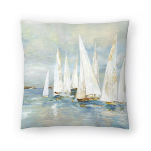 White Sailboats by PI Creative Art Decorative Pillow