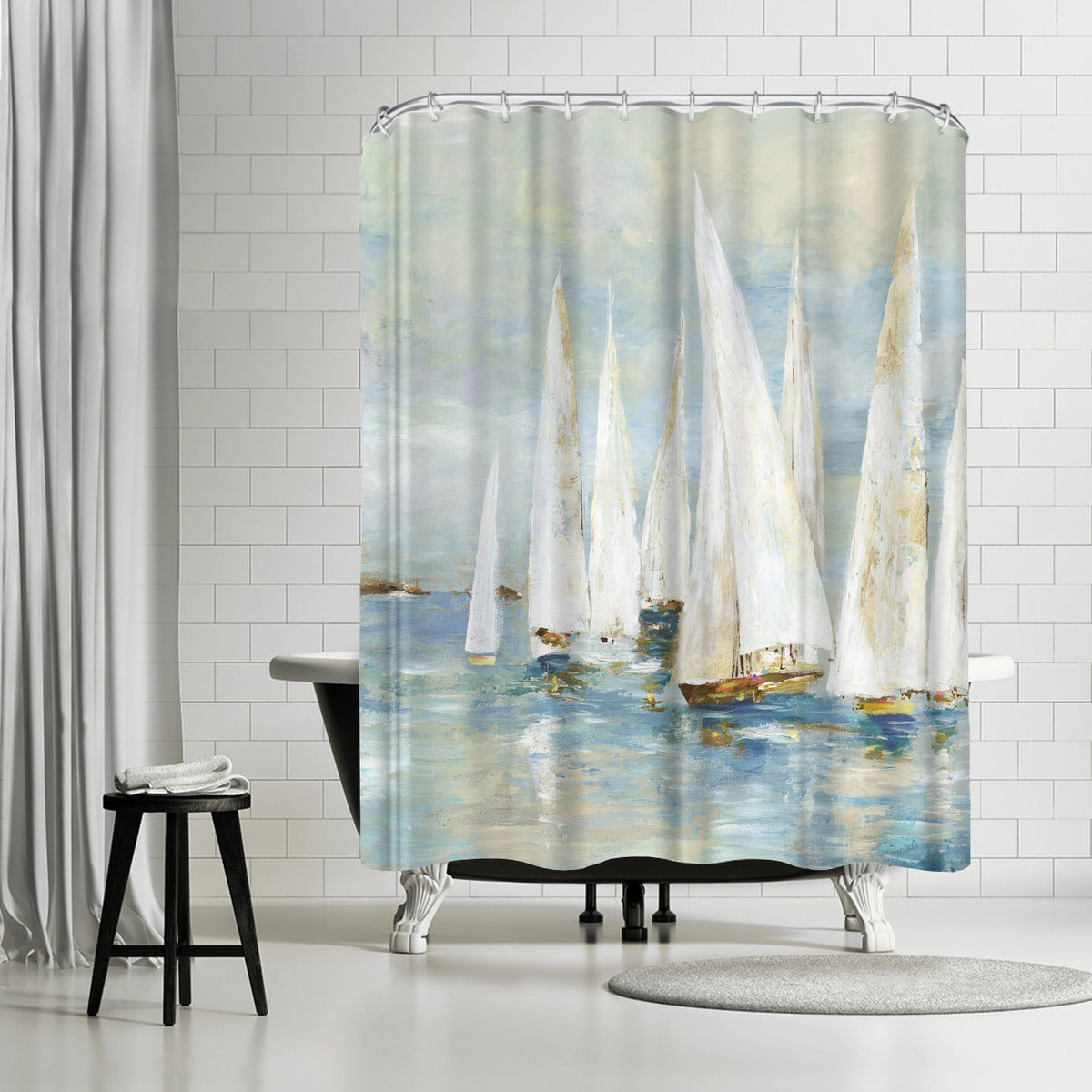 White Sailboats by PI Creative Art Shower Curtain - Shower Curtain - Americanflat