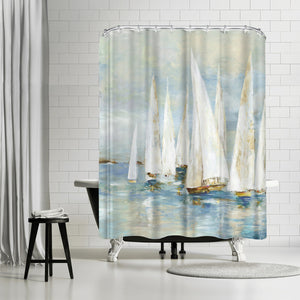 White Sailboats by PI Creative Art Shower Curtain