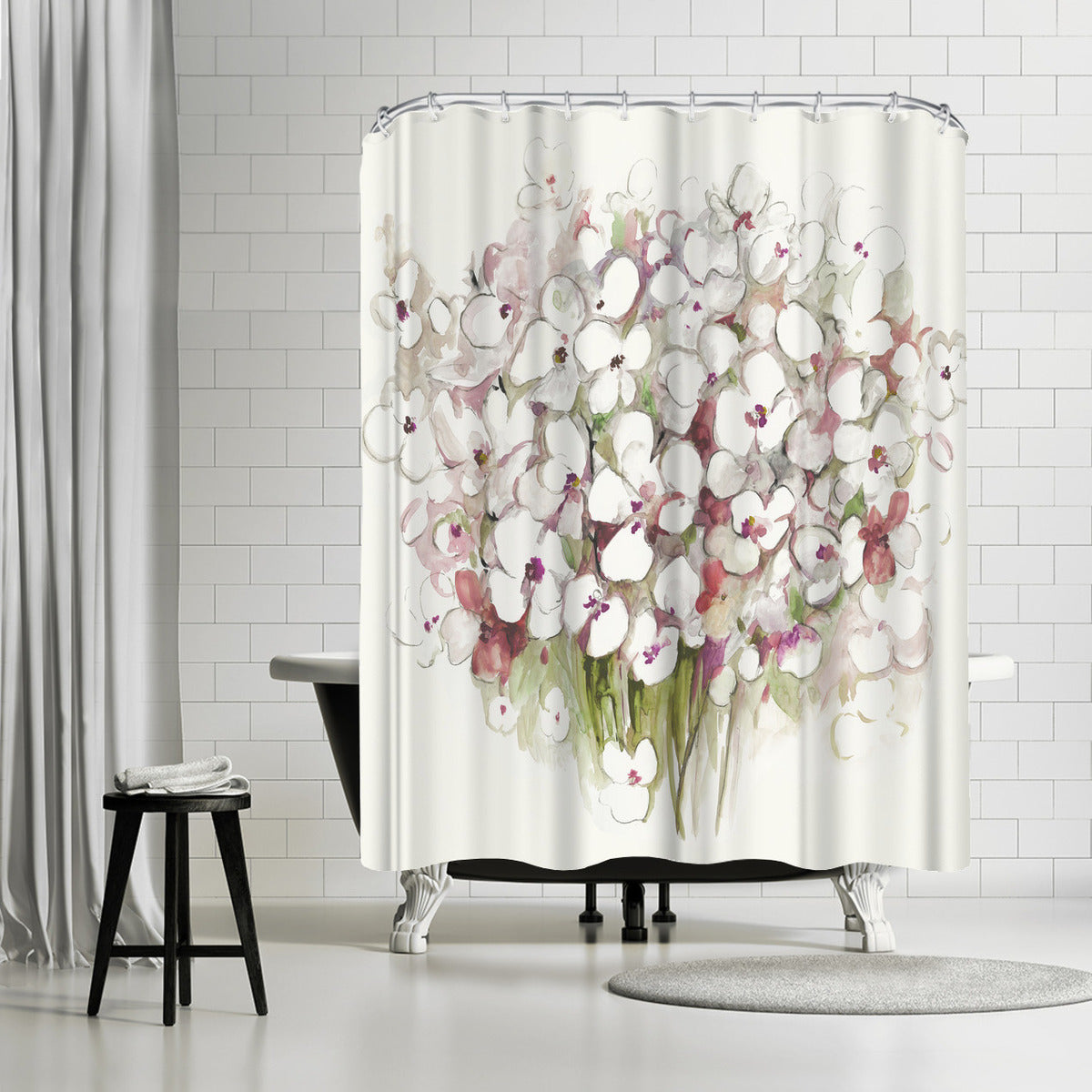 White Bouquet by PI Creative Art Shower Curtain - Shower Curtain - Americanflat