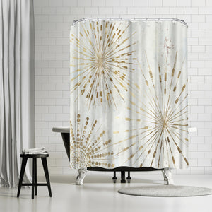 Golden Stars I by PI Creative Art Shower Curtain