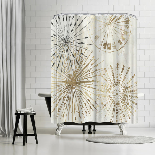 Golden Stars Ii by PI Creative Art Shower Curtain
