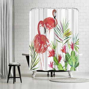 Flamingo Pairing by PI Creative Art Shower Curtain