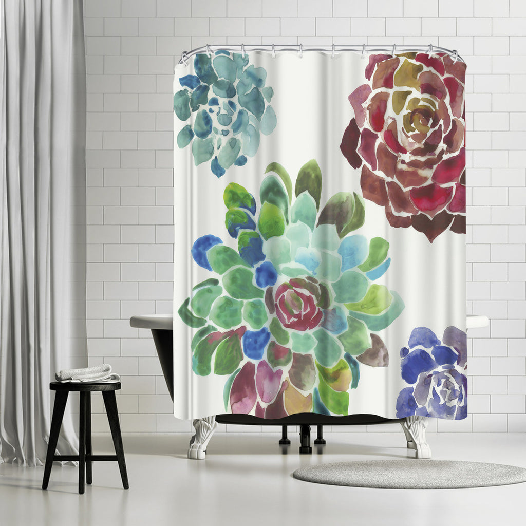 Water Succulents I By PI Creative Art Shower Curtain