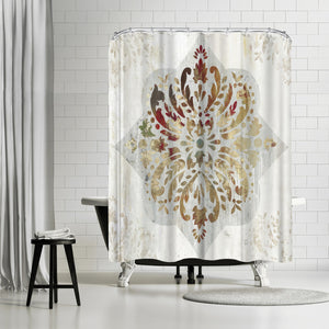 Red Medallion by PI Creative Art Shower Curtain