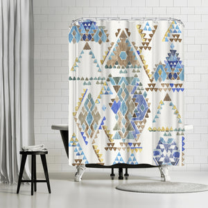 Blue Aztec by PI Creative Art Shower Curtain