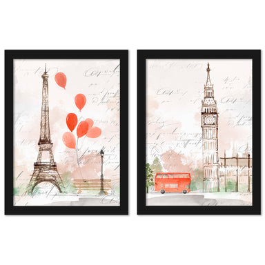 Balloons In Paris by PI Creative Art - 2 Piece Framed Print Set - Americanflat