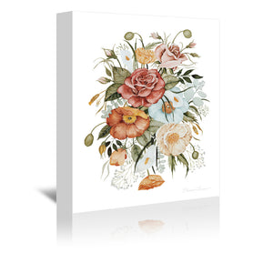 Roses And Poppies by Shealeen Louise Wrapped Canvas