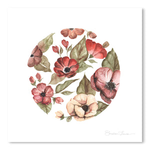 Circular Pink Florals by Shealeen Louise Art Print