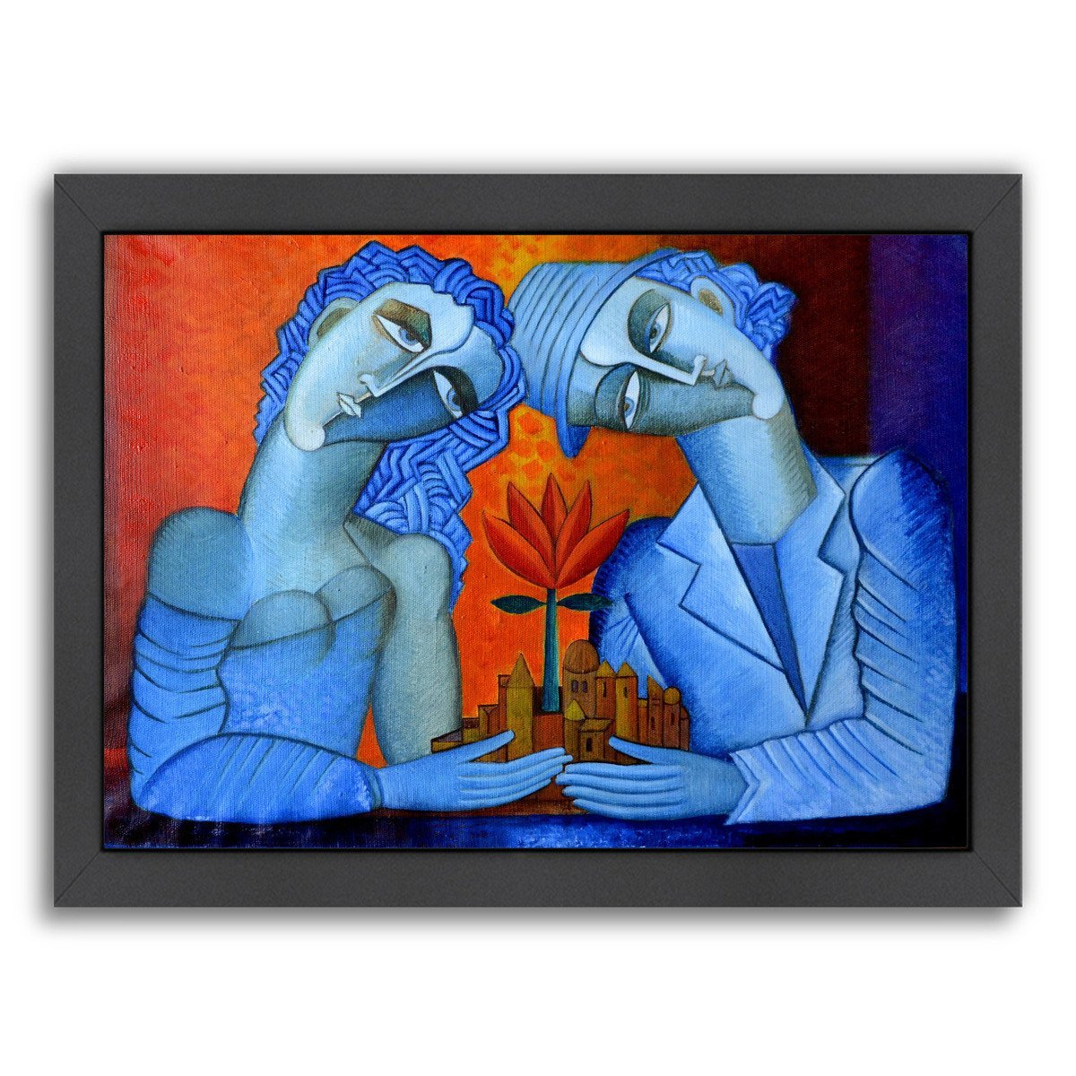 Blue Lovers By Van Hovak - Black Framed Print - Wall Art - Americanflat