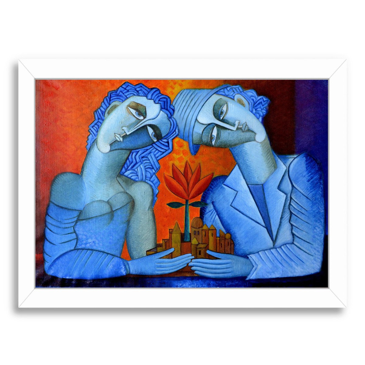 Blue Lovers By Van Hovak - Framed Print - Americanflat