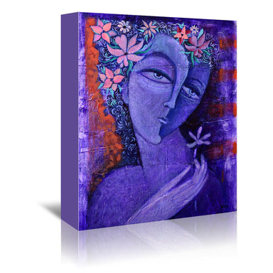 Girl With Flower 2 by Van Hovak Wrapped Canvas - Wrapped Canvas - Americanflat