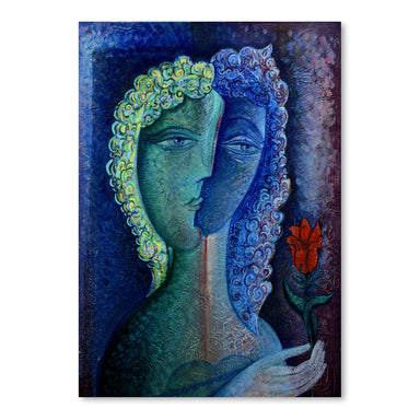 Girl With Red Flower by Van Hovak - Art Print - Americanflat