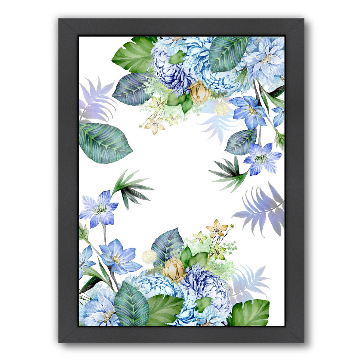 Yell Blue Border By Victoria Nelson - Black Framed Print - Wall Art - Americanflat
