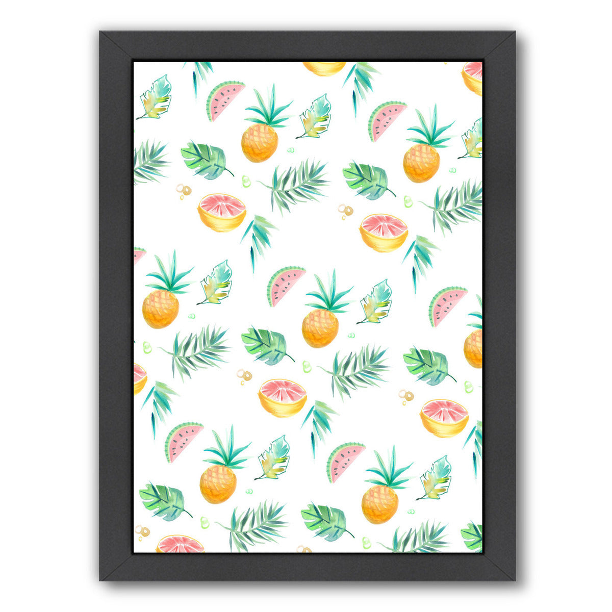 Tropical Pineapple By Victoria Nelson - Black Framed Print - Wall Art - Americanflat