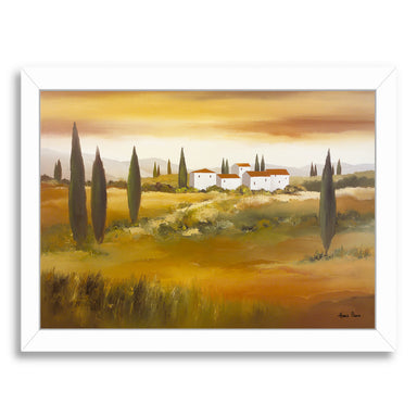 "Warm Day In Tuscany By Hans Paus - White Framed Print, Wall Art, Hans Paus, 8"" x 10"""