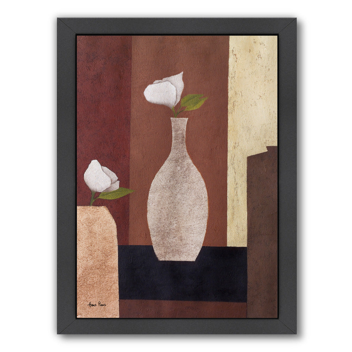 Stylish Flowers 13 By Hans Paus - Black Framed Print - Wall Art - Americanflat