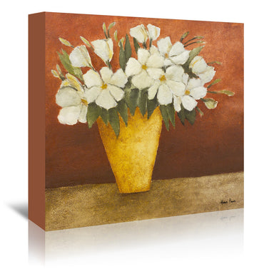 "White Flowers In A Yellow Vase By Hans Paus - Wrapped Canvas, Hans Paus, Wrapped Canvas, 16"" x 16"""
