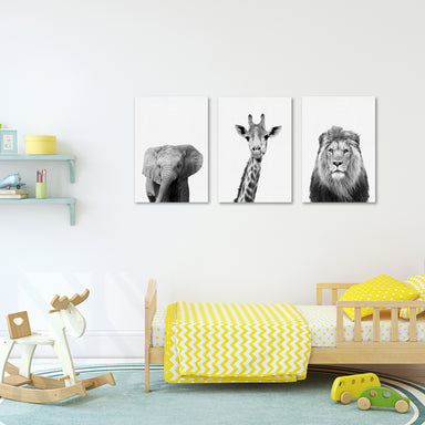 Zoo Animals Canvas Print Gallery Wall Set - Americanflat