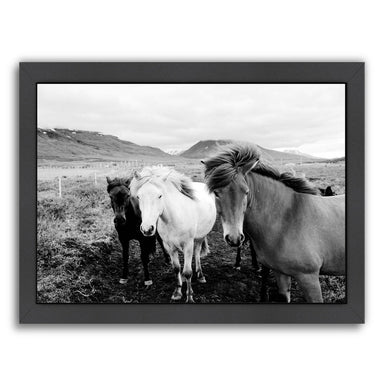 Farm Horses Black And White By Nuada - Black Framed Print - Wall Art - Americanflat