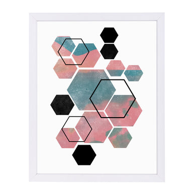 Hexagon By Nuada - White Framed Print - Wall Art - Americanflat