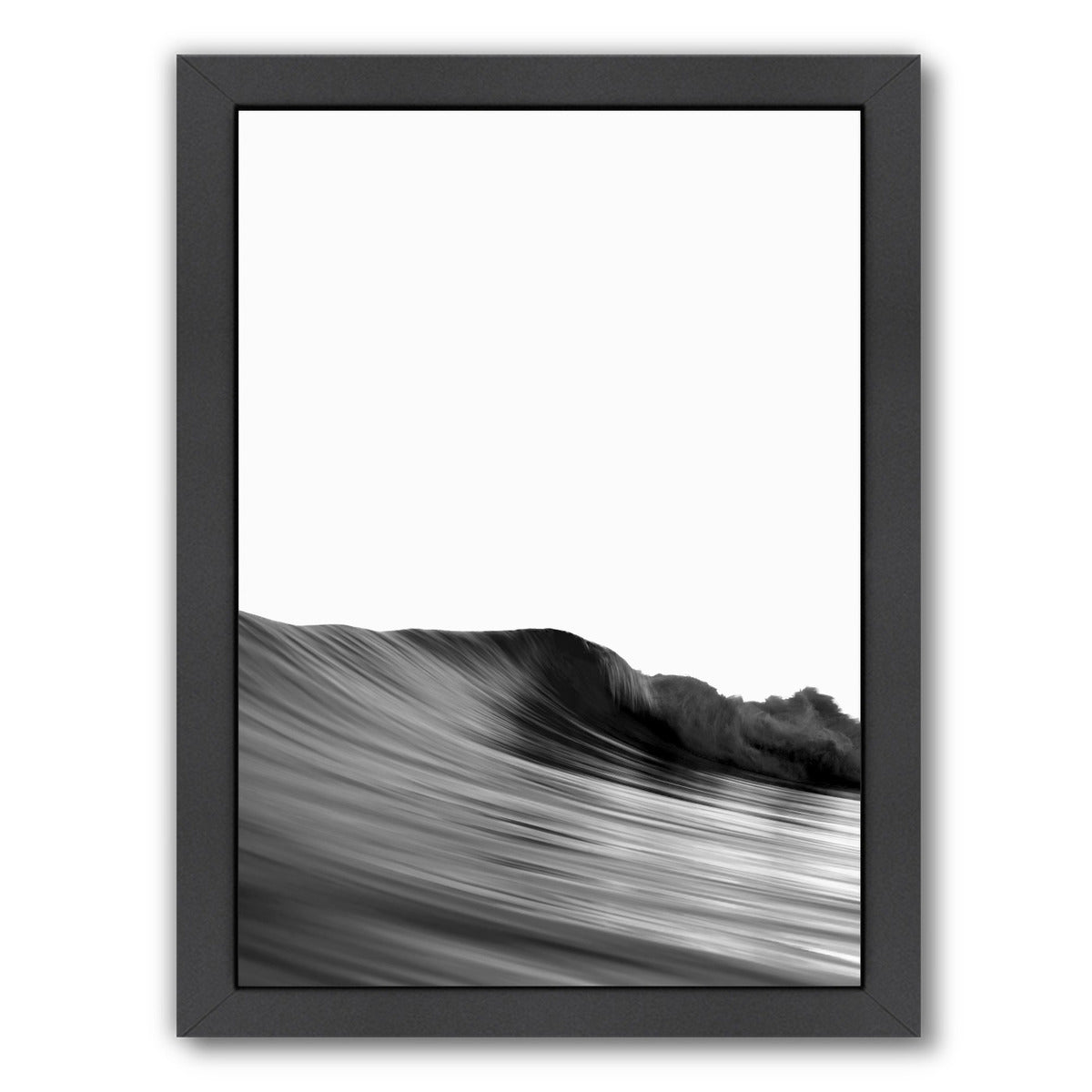 Wave Black And White By Nuada - Black Framed Print - Wall Art - Americanflat
