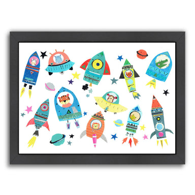 Cute Space Ships With Animals By Liz And Kate Pope - Black Framed Print - Wall Art - Americanflat
