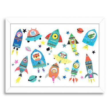 Cute Space Ships With Animals By Liz And Kate Pope - White Framed Print - Wall Art - Americanflat