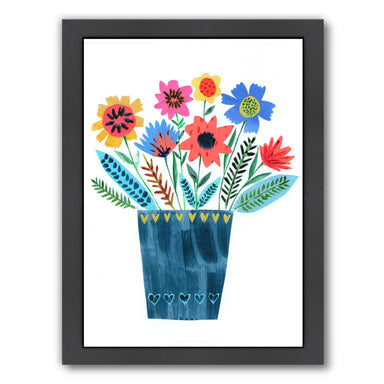 Dark Blue Vase Of Flowers By Liz And Kate Pope - Black Framed Print - Wall Art - Americanflat