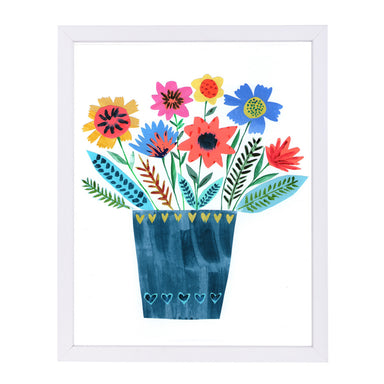 Dark Blue Vase Of Flowers By Liz And Kate Pope - White Framed Print - Wall Art - Americanflat