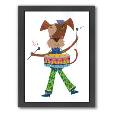 Dog Drumming By Liz And Kate Pope - Black Framed Print - Wall Art - Americanflat