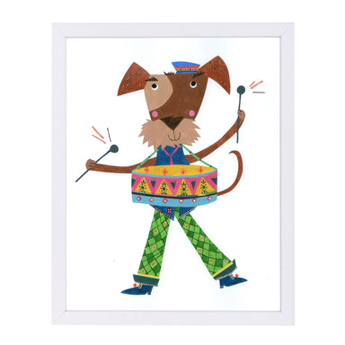 Dog Drumming By Liz And Kate Pope - White Framed Print - Wall Art - Americanflat