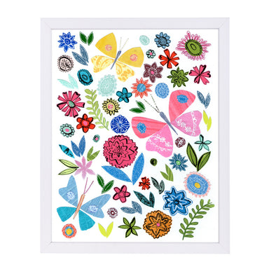 Folk Art Flowers & Butterflies By Liz And Kate Pope - White Framed Print - Wall Art - Americanflat