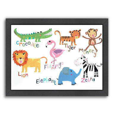 Jungle Animals With Names By Liz And Kate Pope - Black Framed Print - Wall Art - Americanflat