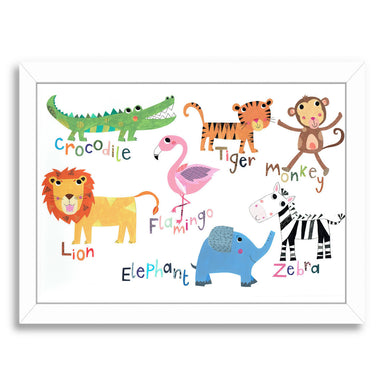 Jungle Animals With Names By Liz And Kate Pope - White Framed Print - Wall Art - Americanflat