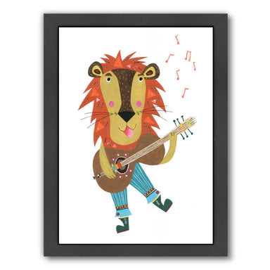Lion & His Guitar By Liz And Kate Pope - Black Framed Print - Wall Art - Americanflat
