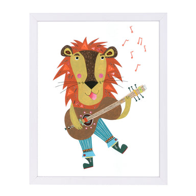 Lion & His Guitar By Liz And Kate Pope - White Framed Print - Wall Art - Americanflat